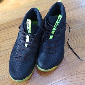 Under Armor basketball shoes black and neon yellow